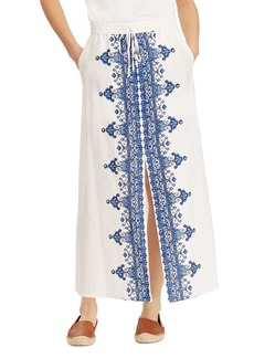 Lauren Ralph Lauren Embroidered Drawstring Maxi Skirt