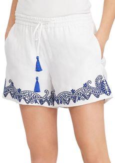 Lauren Ralph Lauren Embroidered Linen-Blend Shorts