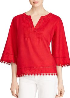 Lauren Ralph Lauren Embroidered Linen Top
