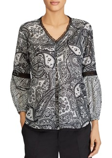 Lauren Ralph Lauren Embroidered Paisley-Print Top