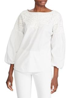 Lauren Ralph Lauren Embroidered Puff-Sleeve Cotton Top