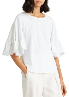 Lauren Ralph Lauren Embroidered Ruffled Top