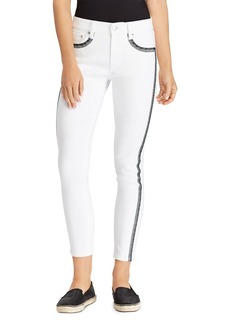 Lauren Ralph Lauren Embroidered Skinny Crop Jeans in White