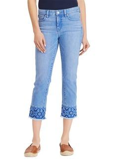 Lauren Ralph Lauren Embroidered Straight Cropped Jeans
