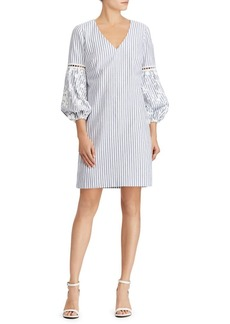 Lauren Ralph Lauren Embroidered Striped Cotton Dress