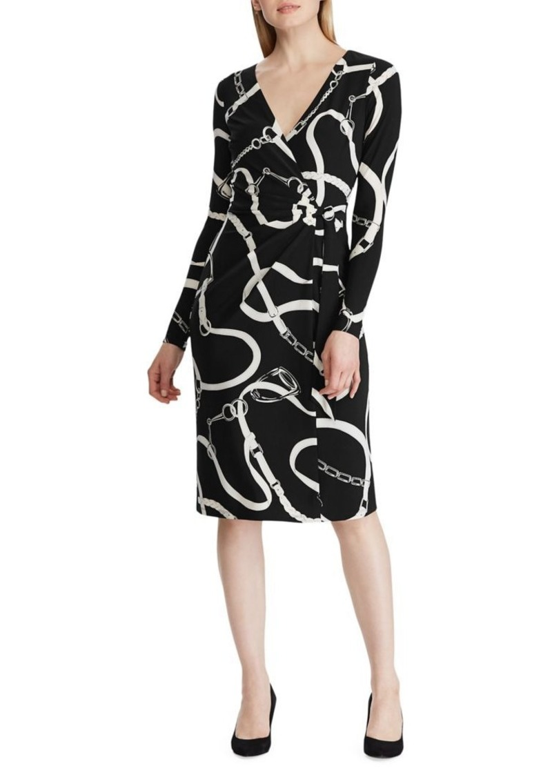 Lauren Ralph Lauren Equestrian Jersey Faux Wrap Dress