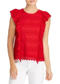 Lauren Ralph Lauren Eyelet Ruffled Top