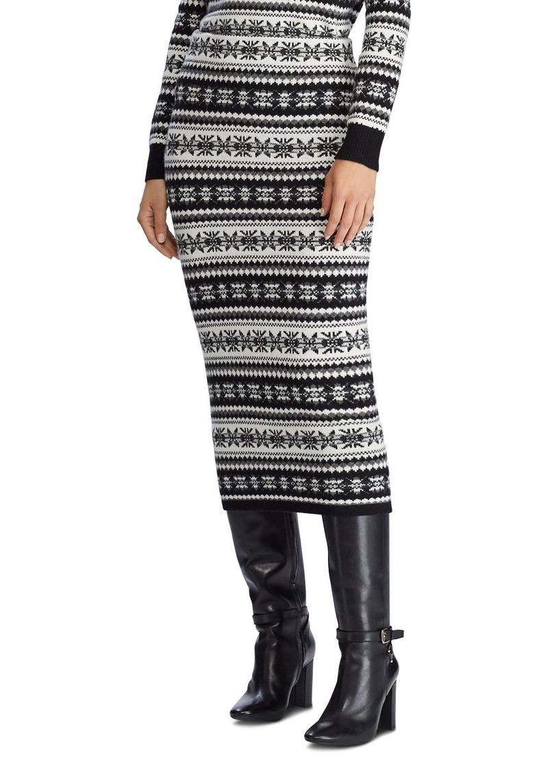 Lauren Ralph Lauren Fair Isle Knit Midi Skirt