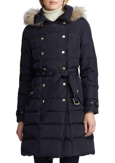 Lauren Ralph Lauren Faux-Fur Double Breasted Down Puffer Coat