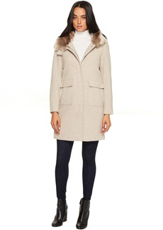 Faux Fur Lined Wool w/ Hood and Patch Pocket
