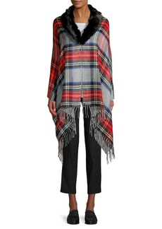 Lauren Ralph Lauren Faux-Fur Plaid Wrap Scarf