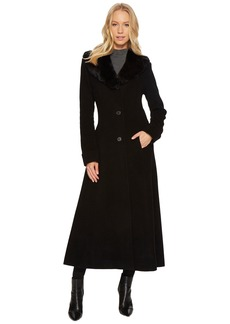 Ralph Lauren Faux Fur Shawl Collar Fit & Flare Maxi