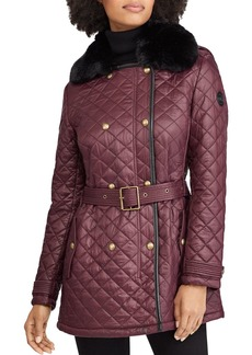 Lauren Ralph Lauren Faux Fur Trim Diamond-Quilted Jacket