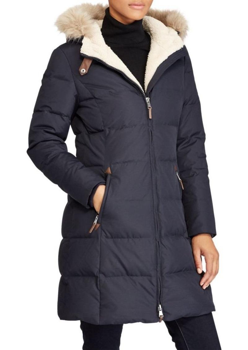 c5a05be49394 Ralph Lauren Lauren Ralph Lauren Faux Fur Trim Puffer Coat