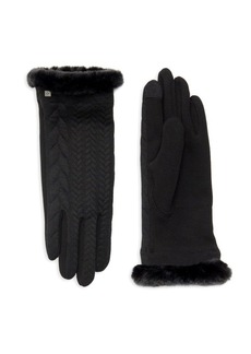 Lauren Ralph Lauren Women's Faux-Fur Trimmed Knit Gloves