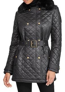 Lauren Ralph Lauren Faux Fur-Trimmed Quilted Belted Jacket