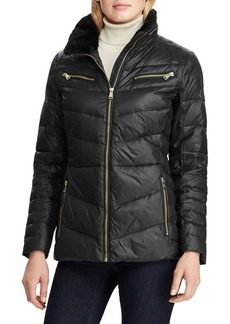 Lauren Ralph Lauren Faux Fur-Trim Quilted Coat
