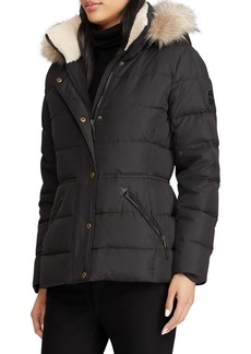 Lauren Ralph Lauren Faux Fur-Trimmed Quilted Down Coat