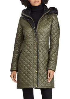 Lauren Ralph Lauren Faux Fur-Trimmed Quilted Hooded Jacket