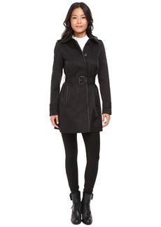 LAUREN Ralph Lauren Faux Leather Piped Hooded Rain