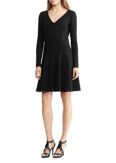 Lauren Ralph Lauren Faux-Leather-Trim Dress