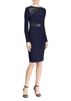 Lauren Ralph Lauren Faux Leather-Trim Jersey Dress
