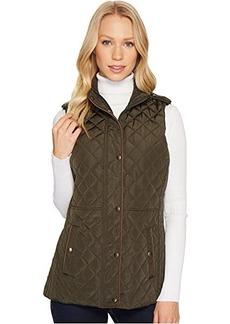 LAUREN Ralph Lauren Faux Leather Trim Military Vest