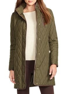 Lauren Ralph Lauren Faux Leather Trim Quilted Jacket