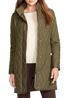 Lauren Ralph Lauren Faux-Leather Trim Quilted Jacket