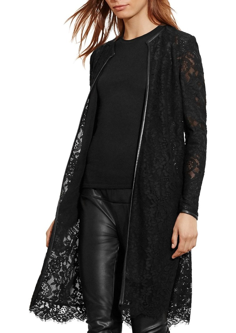 Lauren Ralph Lauren Faux Leather Trimmed Lace Jacket