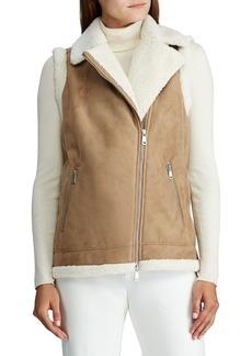 Lauren Ralph Lauren Faux Shearling-Trim Full-Zip Vest