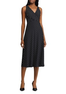 Lauren Ralph Lauren Faux-Wrap Polka-Dot Dress