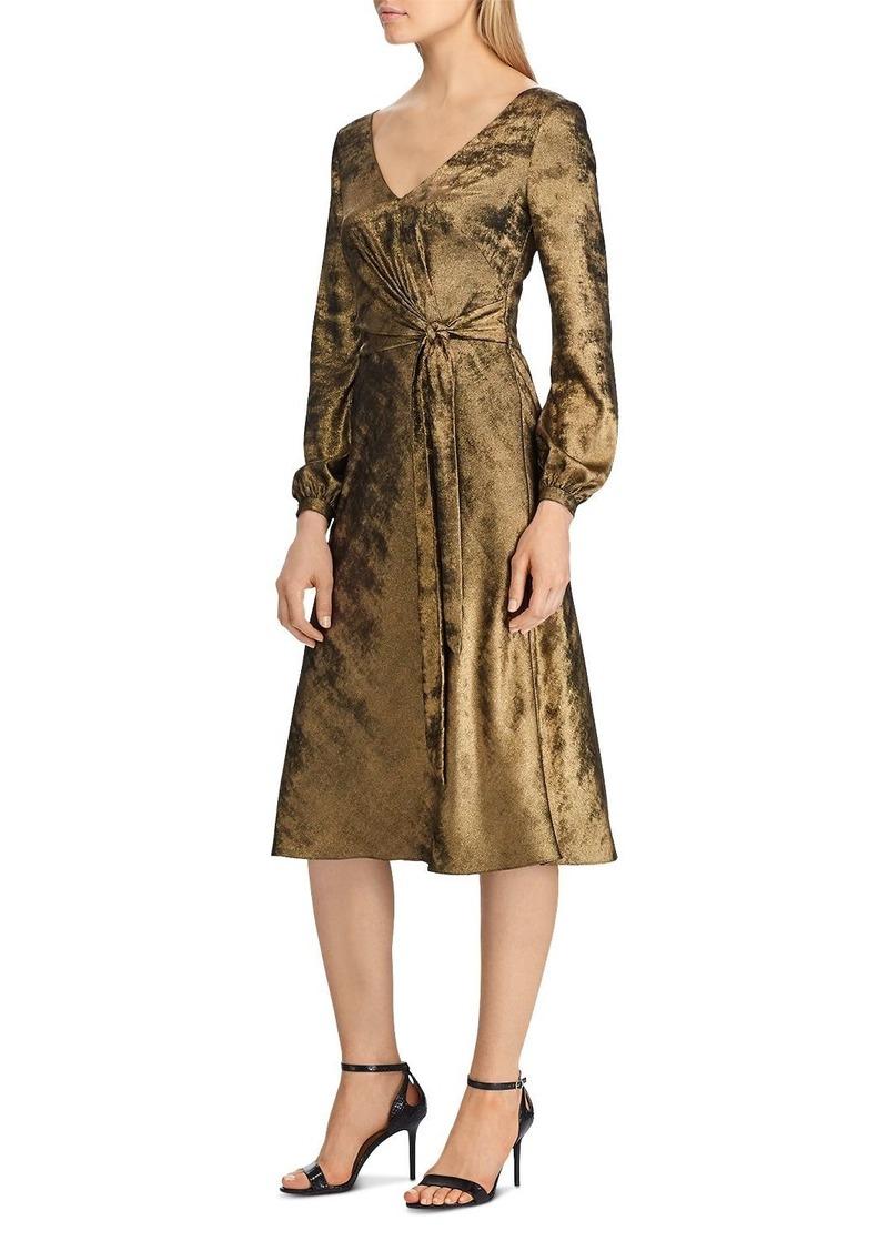 Lauren Ralph Lauren Faux-Wrap Sateen Dress