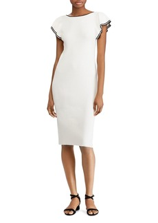 Lauren Ralph Lauren Fitted Flutter-Sleeve Dress