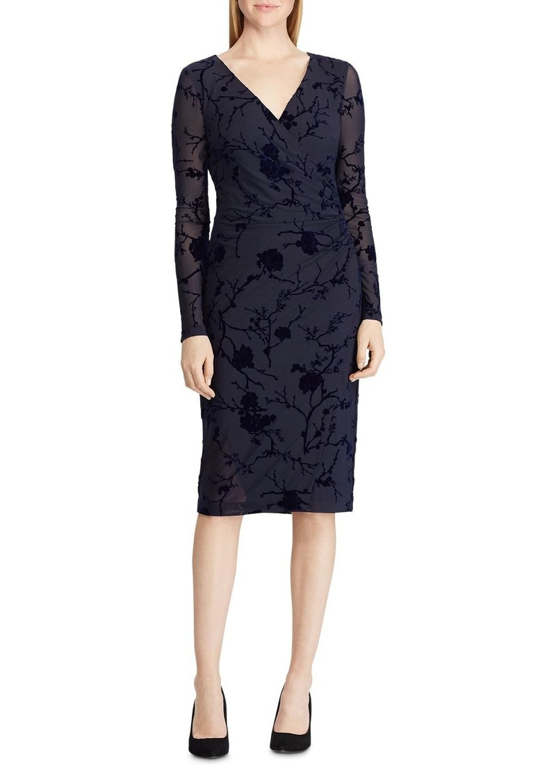 Lauren Ralph Lauren Flocked Floral Velvet Dress
