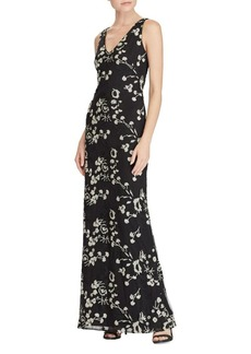 Lauren Ralph Lauren Floral Embroidered Floor-Length Mesh Gown
