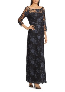 Lauren Ralph Lauren Floral Embroidered Gown