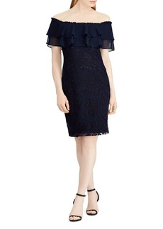 Lauren Ralph Lauren Floral Embroidered Off-the-Shoulder Dress