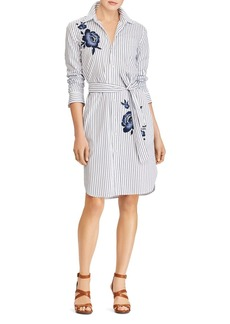 Lauren Ralph Lauren Floral Embroidered Stripe Shirt Dress