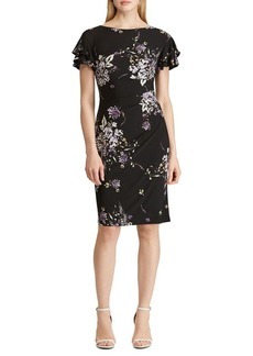 Lauren Ralph Lauren Floral Flutter-Sleeve Sheath Dress