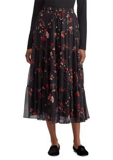 Lauren Ralph Lauren Floral Georgette Peasant Skirt