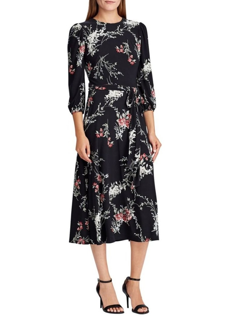 Lauren Ralph Lauren Floral Jersey Belted Dress