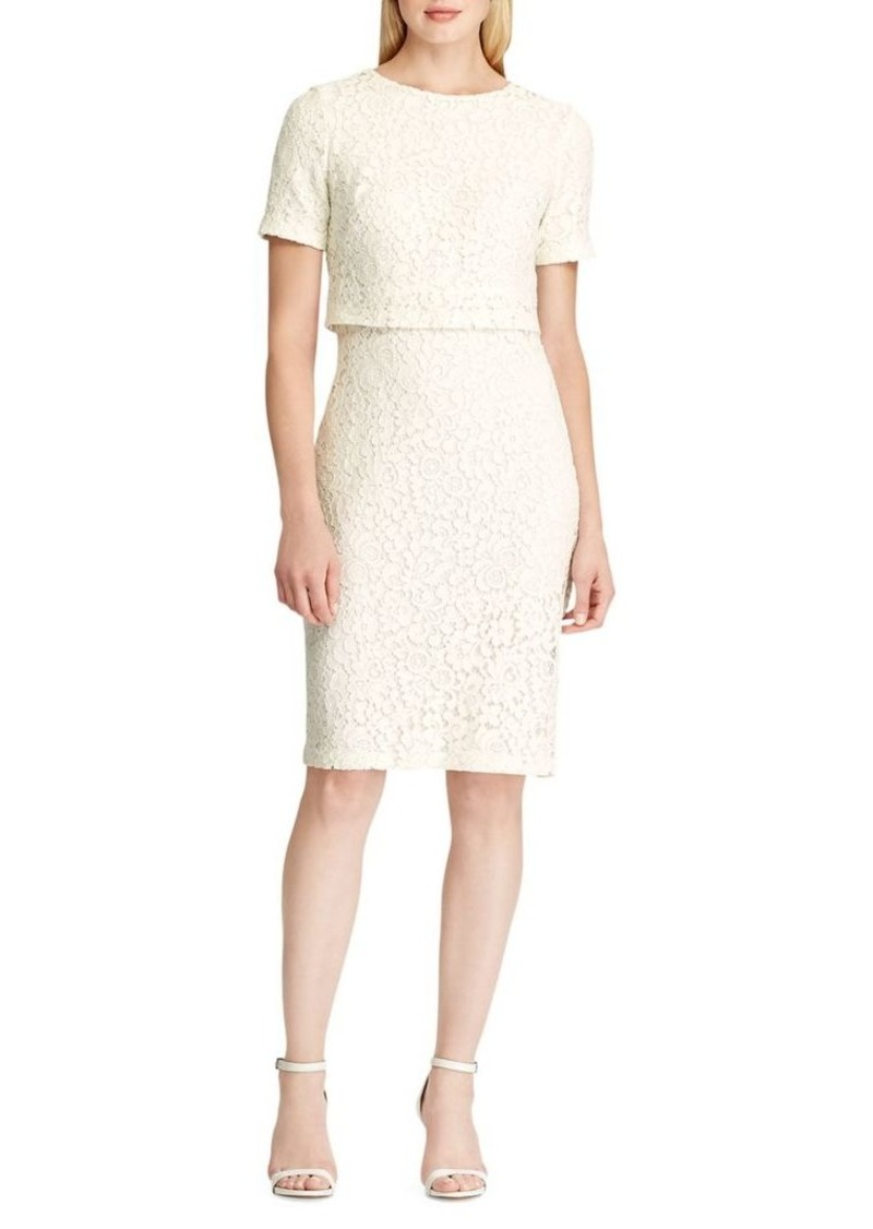 Lauren Ralph Lauren Floral Lace Cotton-Blend Knee-Length Dress