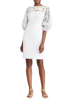 Lauren Ralph Lauren Floral Lace Quarter-Sleeve Sheath Dress