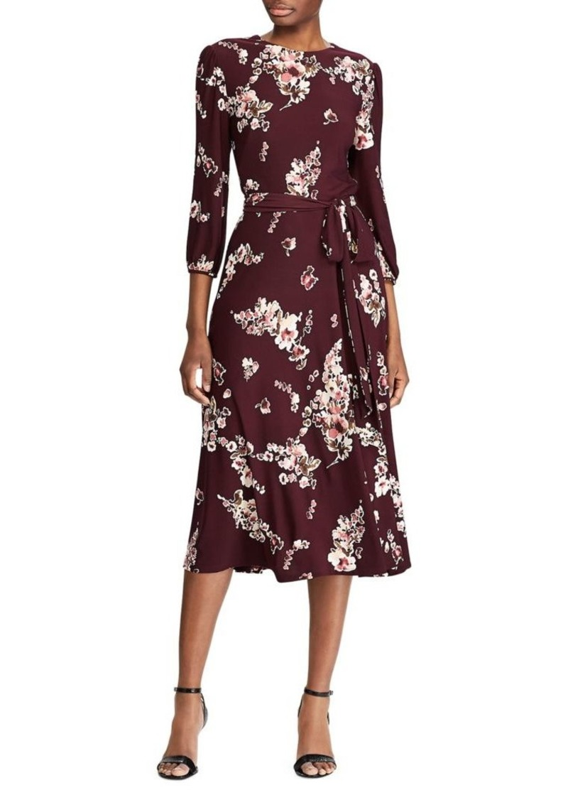 Lauren Ralph Lauren Floral Peasant-Sleeve Midi Dress