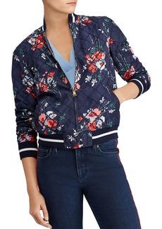 Lauren Ralph Lauren Floral-Print Eyelet Bomber Jacket