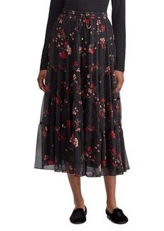 Lauren Ralph Lauren Floral Print Tiered Midi Skirt