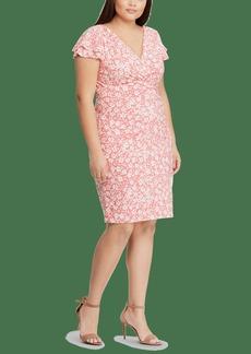 Lauren Ralph Lauren Floral Ruched Jersey Dress Size 14
