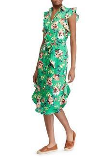 Lauren Ralph Lauren Floral Ruffle Crepe Dress