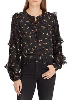 Lauren Ralph Lauren Floral Ruffled Crepe Top